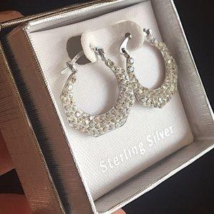 Jewelry - 🆕 Sterling Silver Octagon Crystal Hoop Earrings💎